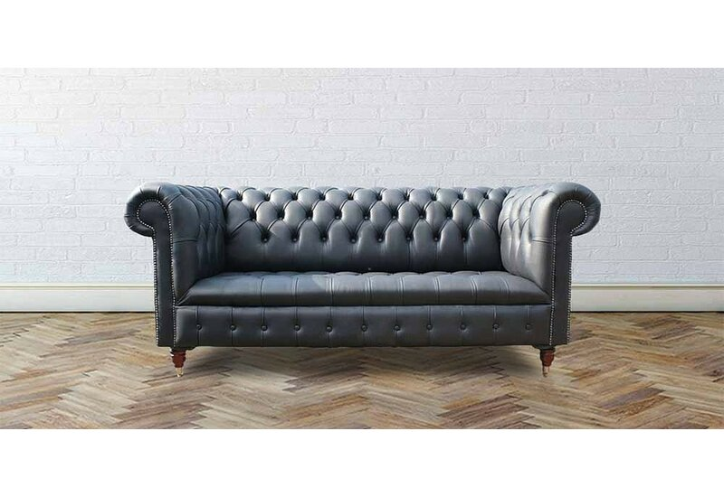 Laurel Foundry Joanna Genuine Leather 3 Seater Chesterfield Sofa ...