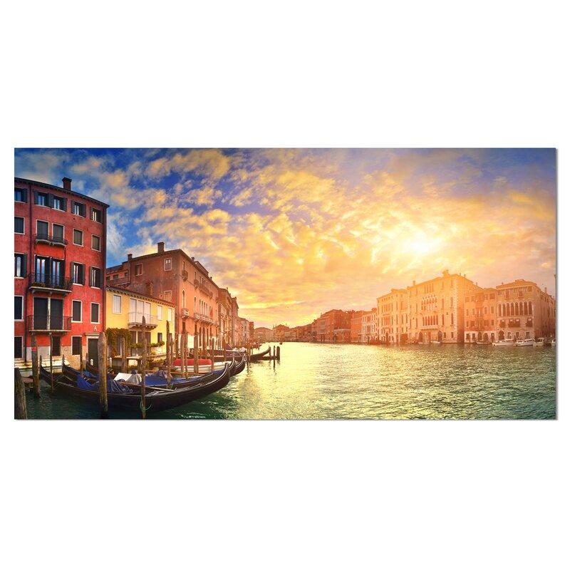 Designart Majestic Sunset Over Venice Photographic Print On Wrapped Canvas Wayfair