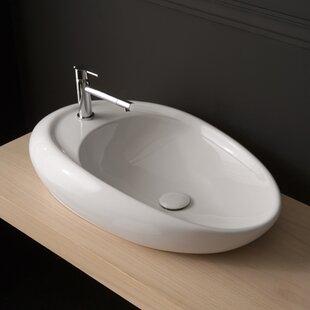 Best Moai Ceramic Oval Vessel Bathroom Sink ByScarabeo by Nameeks