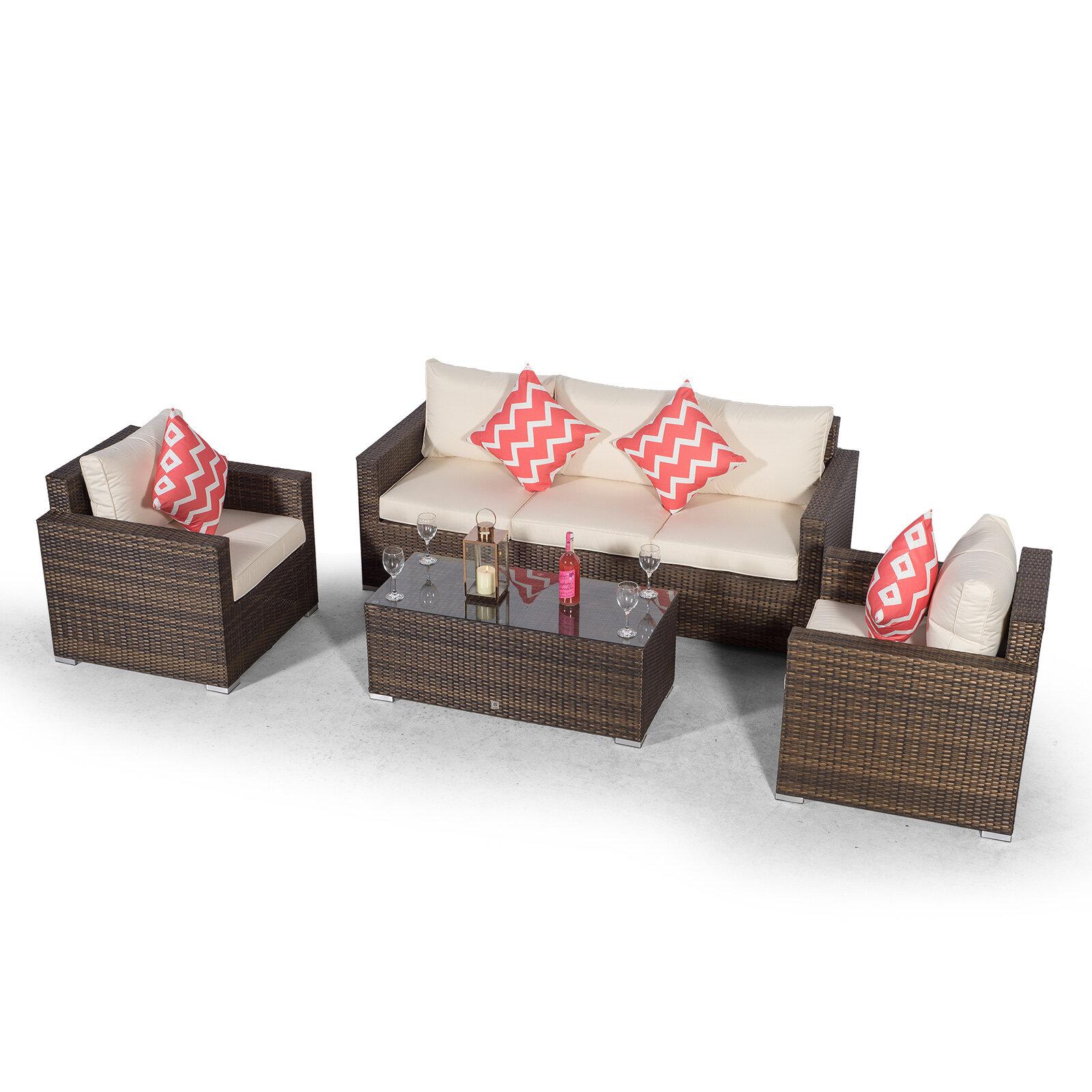 Villatoro Brown Rattan 9 Seat Sofa + 9 X Armchairs & Rectangle Coffee  Table, Outdoor Patio Garden Furniture
