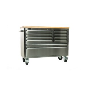 Stainless Steel Rubberwood 48 Wide 8 Drawer Bottom Rollaway Chest by Trinity