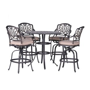 Gunter 5 Piece Bar Height Dining Set with Sunbrella Cushions