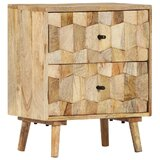 Roxann 2 - Drawer Solid Wood Nightstand in Beige by George Oliver