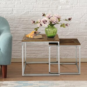 Great Eclisse Quadrato Reclaimed Elm Wood 2 Piece Nesting Tables