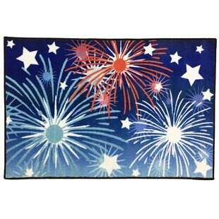 Coupon Shoup Fireworks 4th of July Red/Blue/Black Area Rug ByThe Holiday Aisle