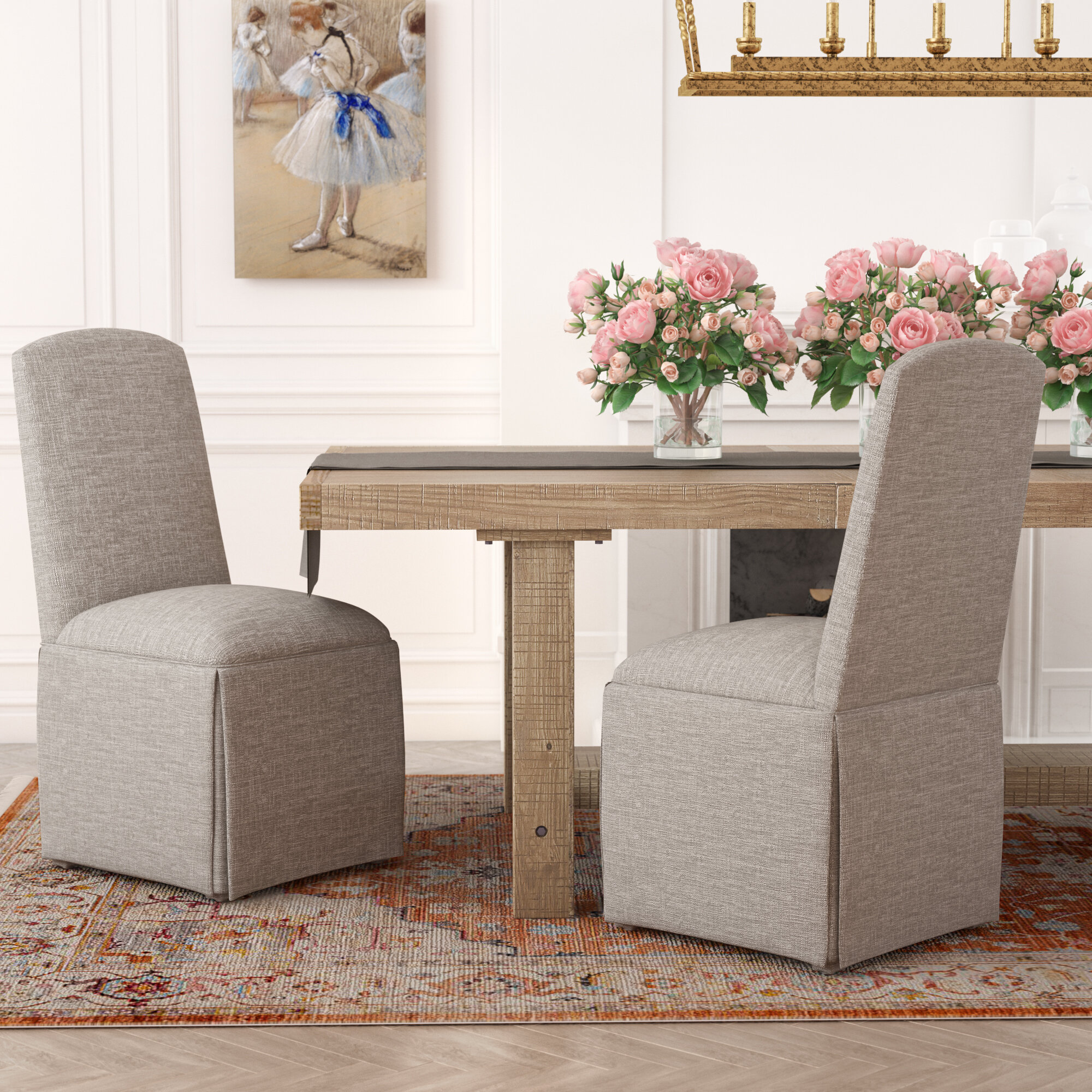 Darby Home Co Lamoille Traditional Skirted Upholstered Dining Chair U0026  Reviews | Wayfair
