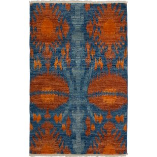 One Of A Kind Dolphin Hand Knotted 4 X 61 Wool Blue Burnt Orange Area Rug
