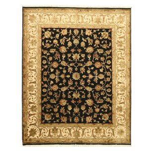 Price Check One-of-a-Kind Andress Hand-Knotted 8' x 10' Wool Black/Beige Area Rug By Isabelline