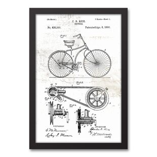 bike patent on white distressed framed graphic art print on canvas - White Distressed Flooring