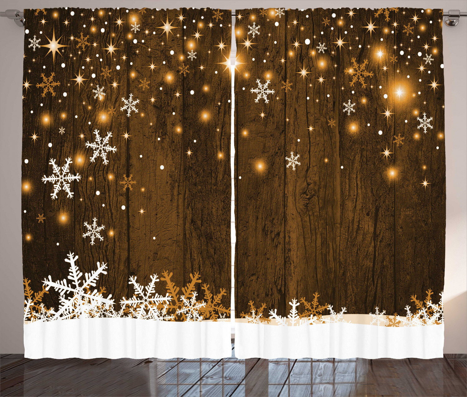 The Holiday Aisle Christmas Decorations Rustic Wooden Backdrop With Snowflakes And Lights Warm Celebration Graphic Print Text Semi Sheer Rod Pocket Curtain Panels Reviews Wayfair