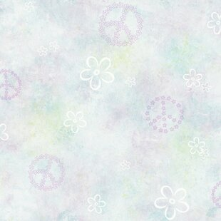 Review Totally for Kids Joplin Peace Toss 16.5' x 20.5 Floral Wallpaper by Brewster Home Fashions