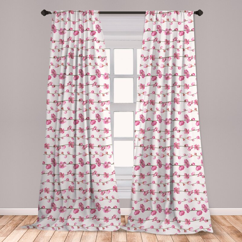 East Urban Home Asian Leaves Floral Room Darkening Rod Pocket Curtain Panels Wayfair