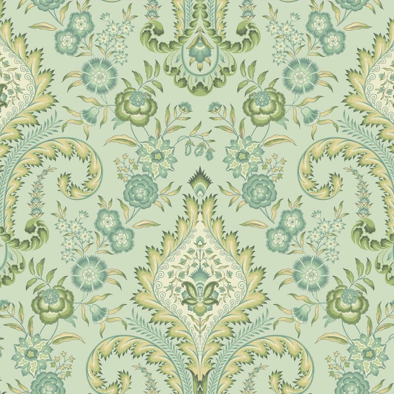 "Williamsburg Isham Indienne 27' x 27"" Floral and Botanical Wallpaper"