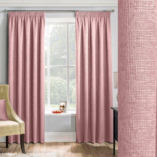 Waller Pencil Pleat Blockout Thermal Curtains Brambly Cottage Panel Size: Width 229cm x Drop 183cm, Colour: Blush