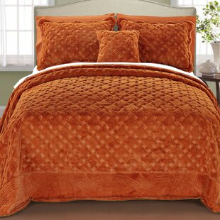 Cara 4 Piece Quilted Faux Fur Coverlet Set