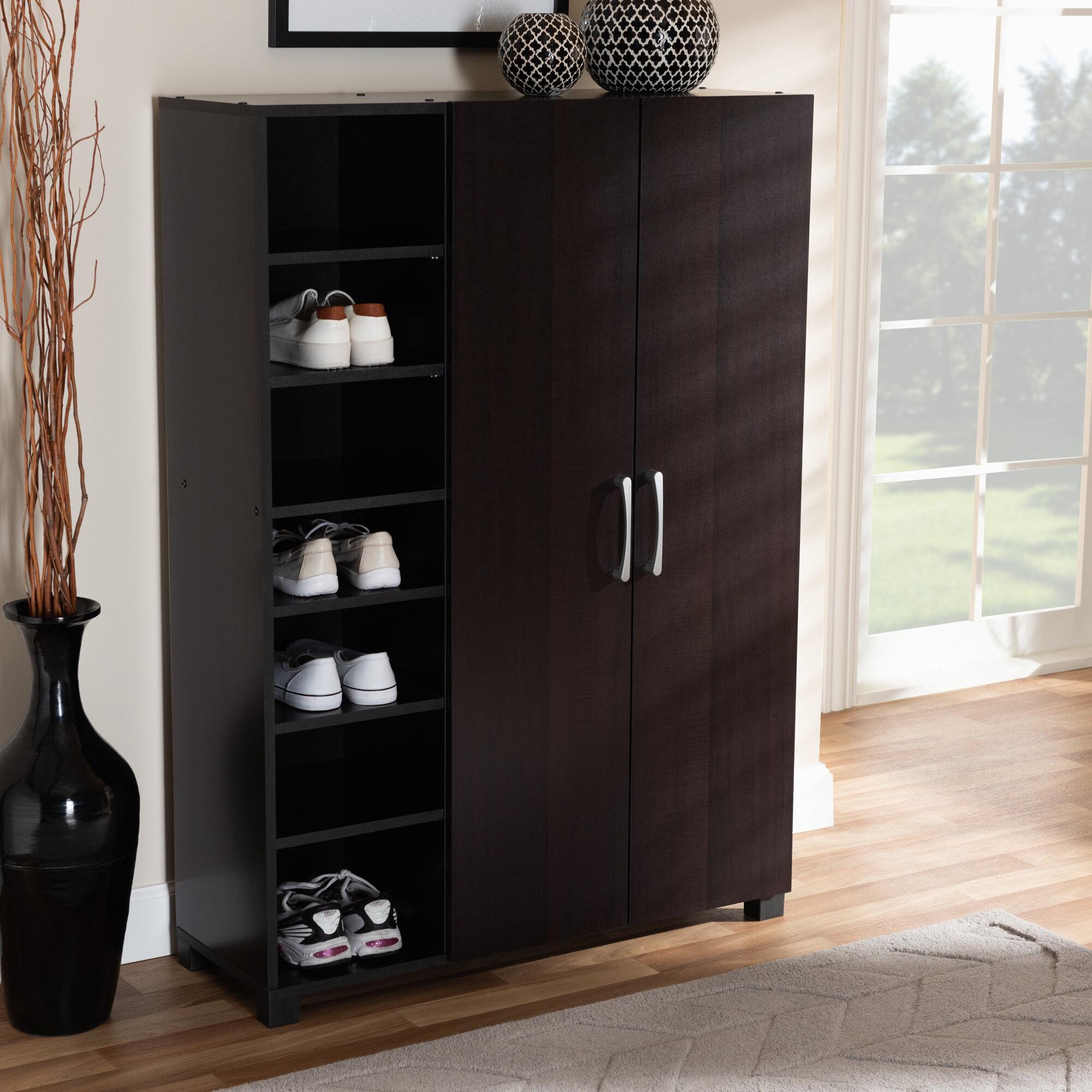 Ebern Designs 2 Door Wood Entryway 19 Pair Shoe Storage Cabinet Wayfair