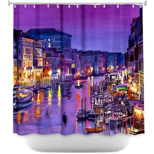 Best Reviews Romantic Venice Night Shower Curtain ByDiaNoche Designs
