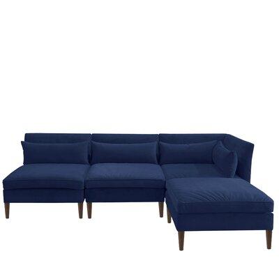 Alayna Modular Reversible Sectional with Ottoman Upholstery Color: Velvet Navy by Brayden Studio