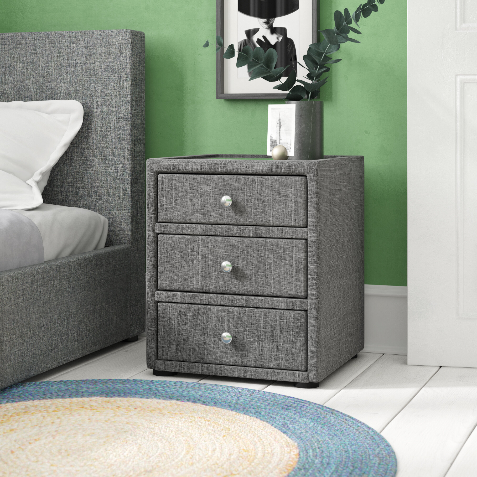 Image of: Zipcode Design Stevie 3 Drawer Bedside Table Reviews Wayfair Co Uk