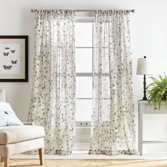 Rosalind Wheeler Marcus Floral Sheer Rod Pocket Single Curtain Panel Reviews Wayfair