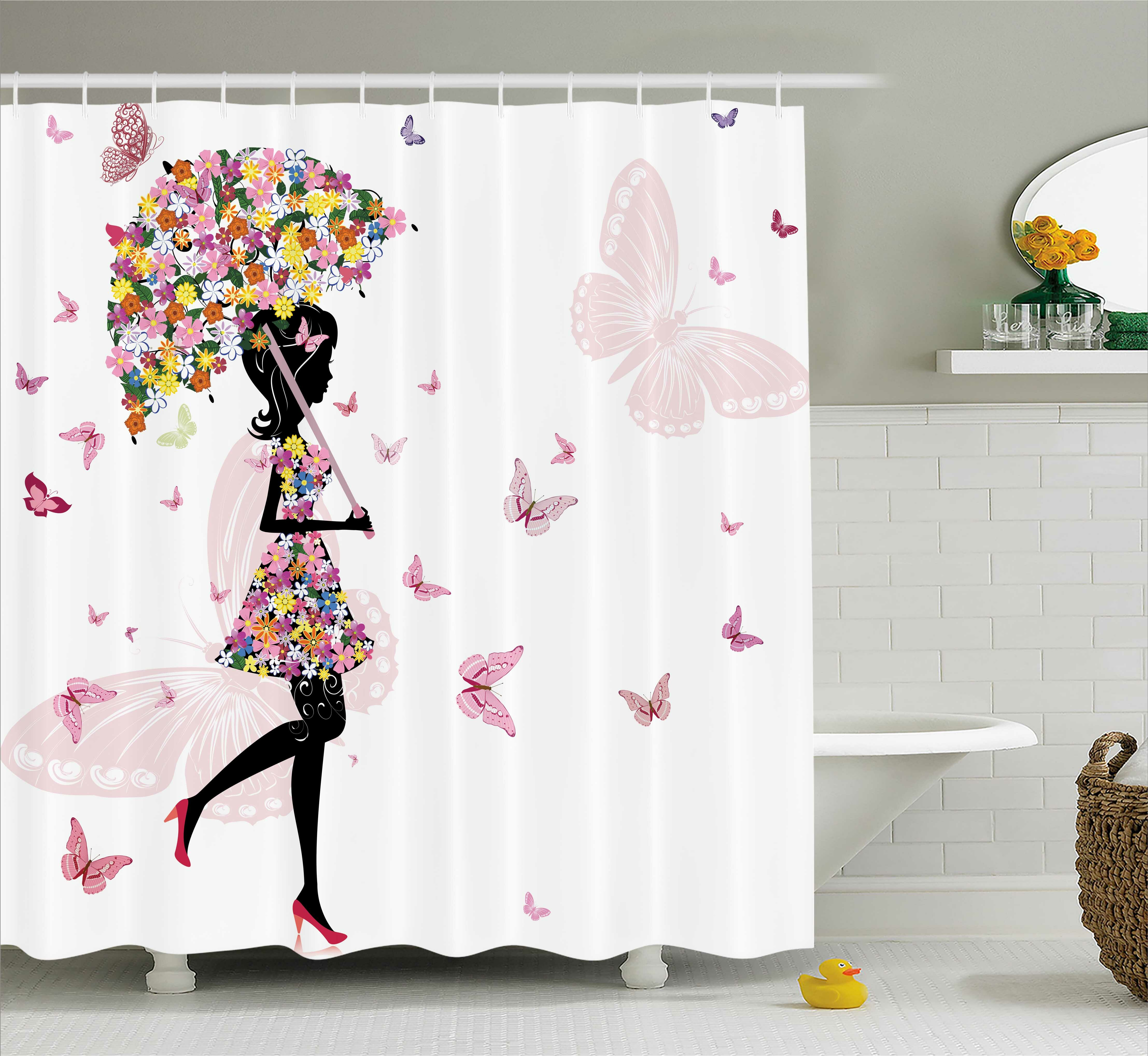 Ebern Designs Pauline Girl With Floral Umbrella And Dress Walking Butterflies Artsy Print Shower Curtain Reviews