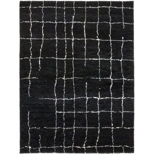 Bargain One-of-a-Kind Detweiler Hand-Knotted Wool Black Indoor Area Rug By Isabelline
