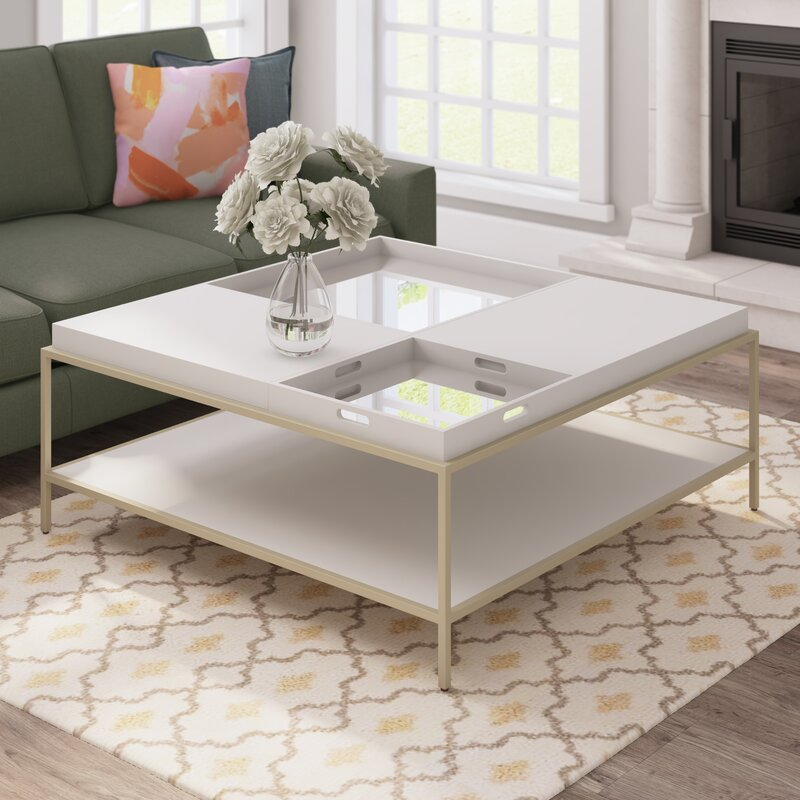 Mercer41 Clontarf Square Coffee Table With Tray Top Reviews