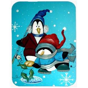 Somethin's Fishy Christmas Penguin Glass Cutting Board