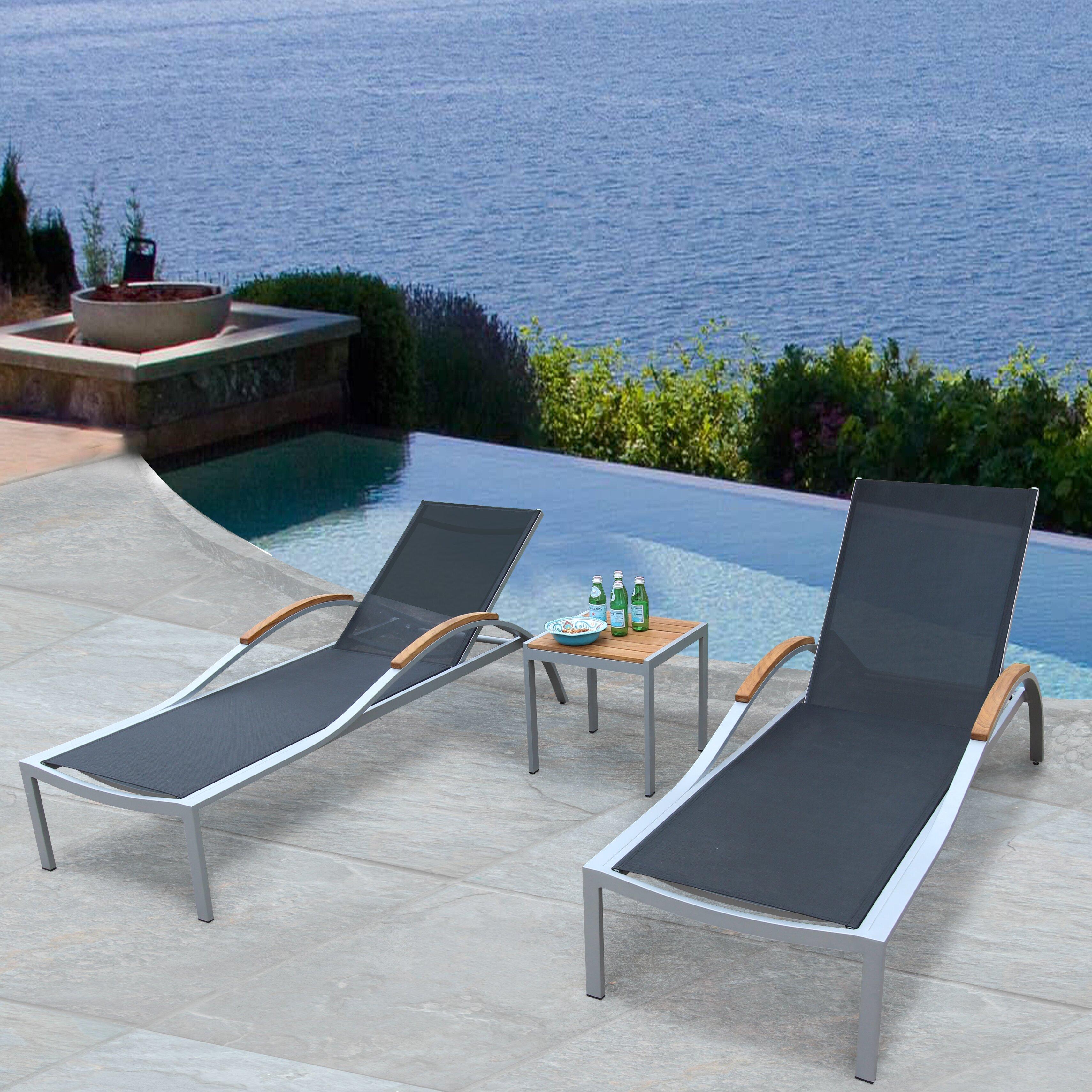 Bellini Galliano Reclining Teak Chaise Lounge Set | Wayfair