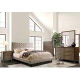 Sugden Beige Queen Bed With Night Stand, Dresser And Mirror Set by Ebern Designs
