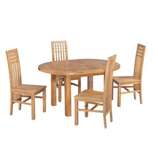 Uriah 5 Piece Extendable Solid Wood Dining Set by Millwood Pines Comparison