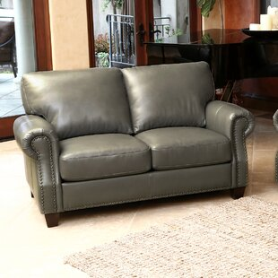 Carthage Genuine Leather Loveseat by Darby Home Co