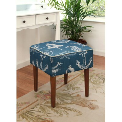 123 Creations Nautical Upholstered Modern Vanity Stool