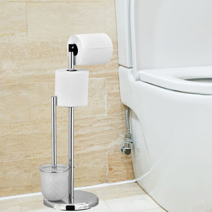 Wayar Freestanding Toilet Paper Holder With Brush Stand