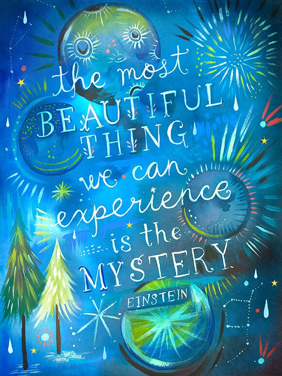 Mystery by Katie Daisy Wall Decal - quote by Einstein. Happy LOVE Day, Lovelies! Poetry, handlettered art, and colorful Valentine's Day finds await on Hello Lovely Studio!