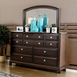 Harvell 10 Drawer Double Dresser with Mirror