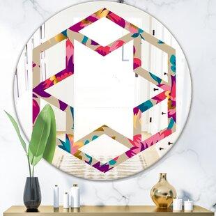 Hexagon Star Elegant Blossom Hand Drawn Folk Eclectic Wall Mirror by East Urban Home
