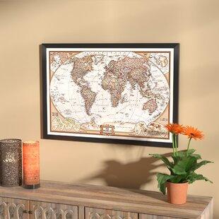 Framed Maps Wall Art You\'ll Love | Wayfair