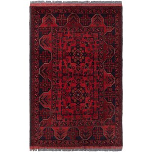 Buy clear One-of-a-Kind Kaler Hand-Knotted 3'3 x 5'2 Wool Red/Black Area Rug By Isabelline
