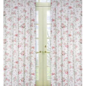 Riley's Roses Nature / Floral Semi-Sheer Rod Pocket Curtain Panels (Set of 2)