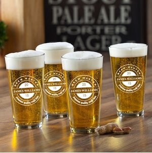 Brew Master Printed Pub Beer Glasses (Set of 4)