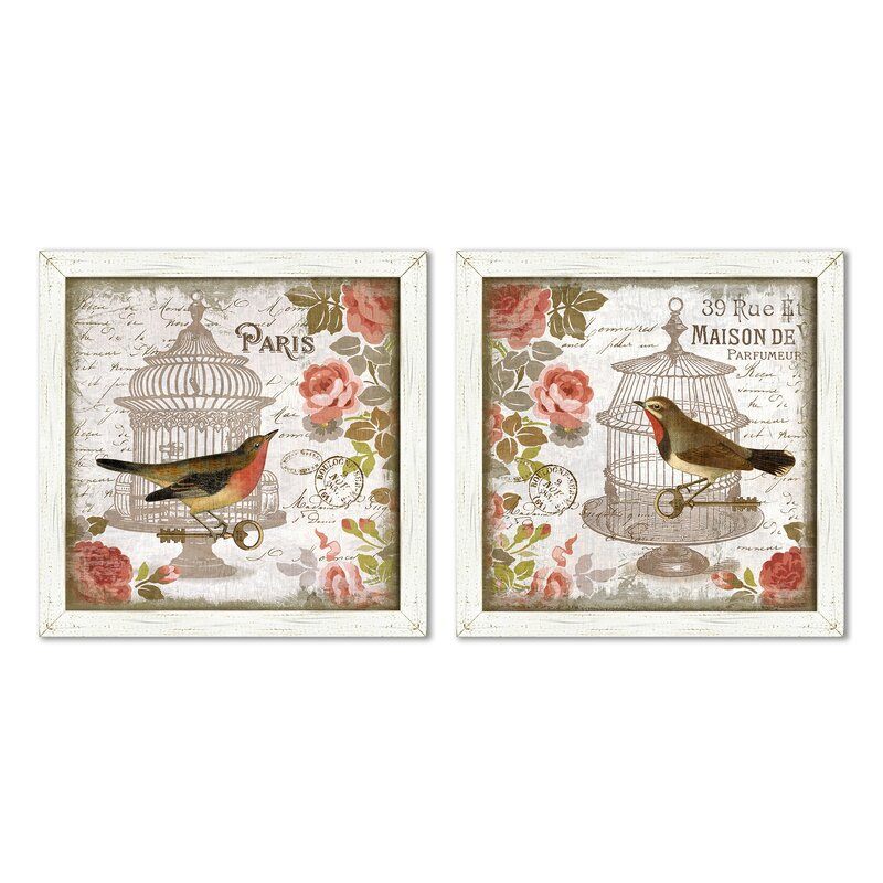 Ophelia Co Vintage Birdcage 2 Piece Framed Print Set Wayfair