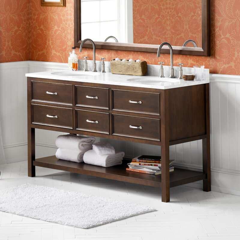 "Custom Bathroom Vanities Newcastle ronbow newcastle 60"" double bathroom vanity set & reviews 
