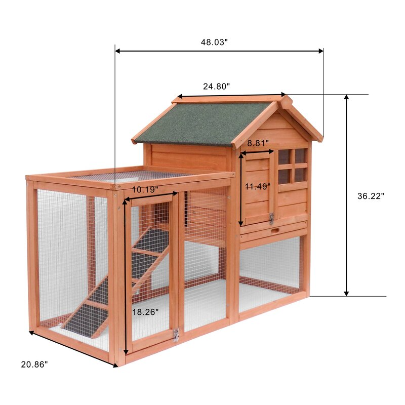 Tucker Murphy Pet Shirey Wooden Small Animal Hutch With Feeder