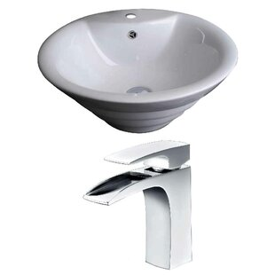 Read Reviews Above Counter Ceramic Circular Vessel Bathroom Sink with Faucet and Overflow ByRoyal Purple Bath Kitchen