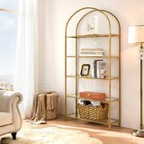 Mcandrew 72.2 H x 32.7 W Metal Etagere Bookcase by Everly Quinn