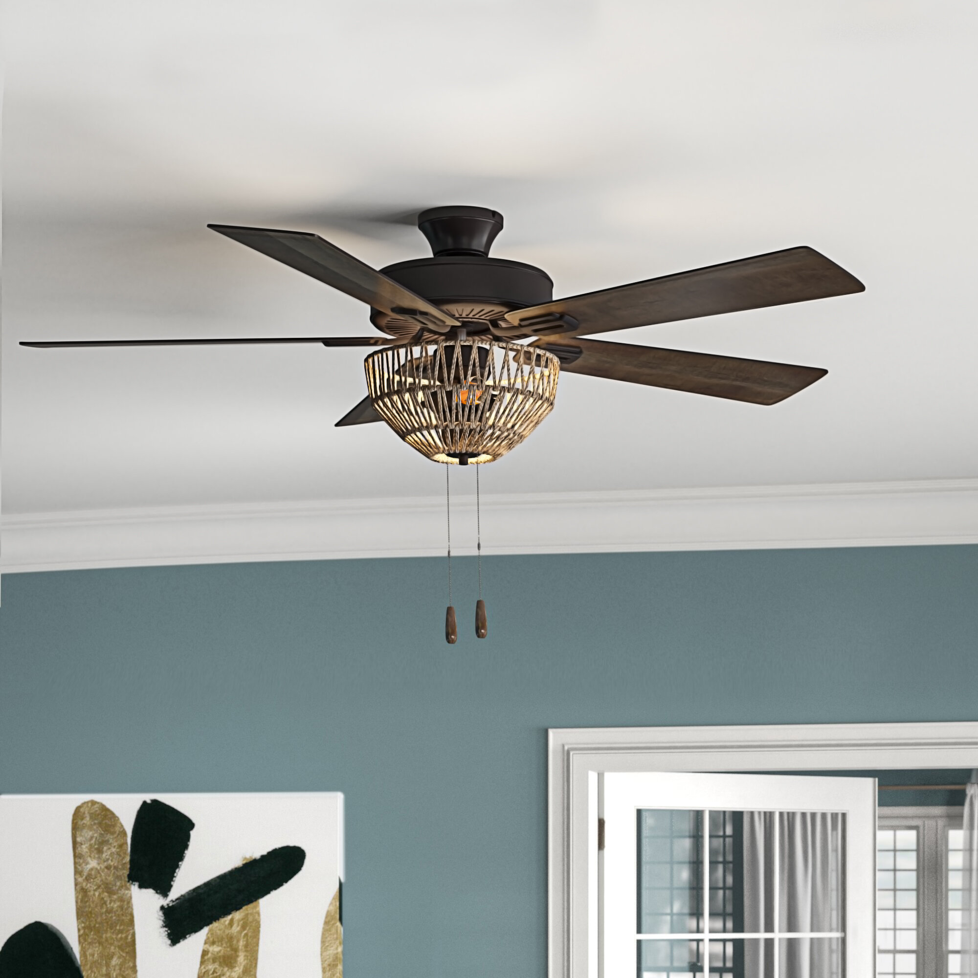 Mistana 52 Isabella 5 Blade Standard Ceiling Fan With Pull Chain And Light Kit Included Reviews Wayfair