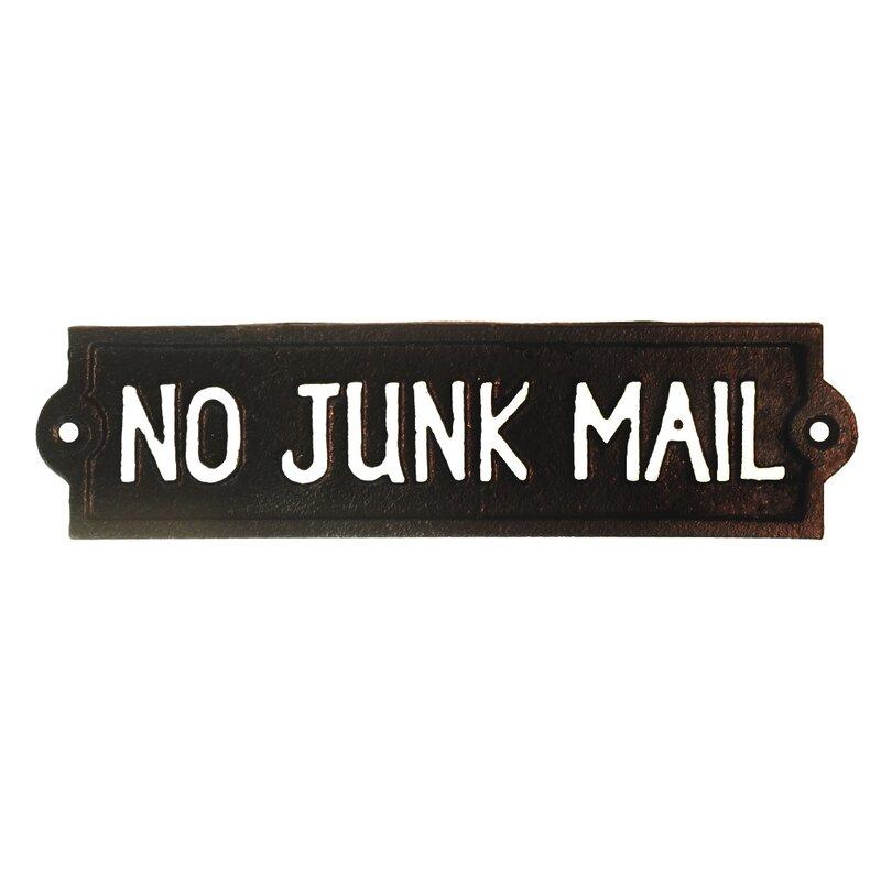 CAST IRON No Junk Mail Sign