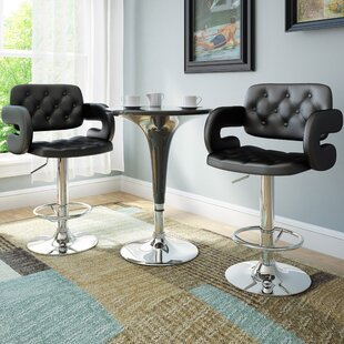 Fohoren Adjustable Height Swivel Bar Stool (Set of 2) Wade Logan