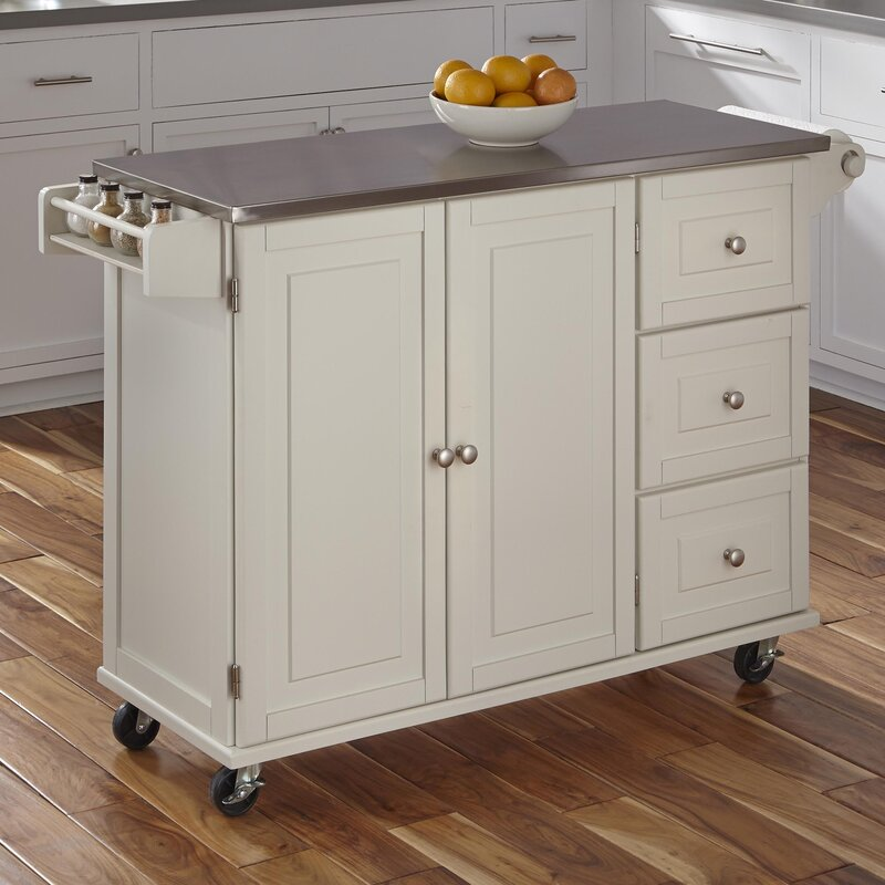kitchen island stainless steel top andover mills kuhnhenn kitchen island with stainless steel 24786